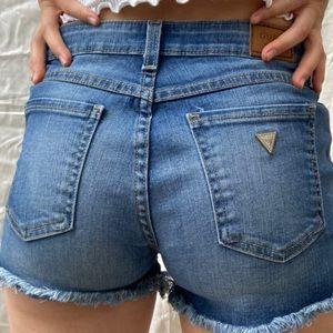 Guess shorts jean booty daisy duke stretchy blue